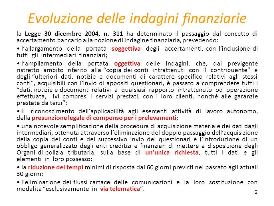 2 Evoluzione delle indagini finanziarie la Legge 30 dicembre 2004, n. 311 ha determinato il passaggio dal concetto di accertamento bancario alla nozio