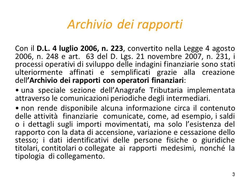 3 Archivio dei rapporti Con il D.L. 4 luglio 2006, n. 223, convertito nella Legge 4 agosto 2006, n. 248 e art. 63 del D. Lgs. 21 novembre 2007, n. 231