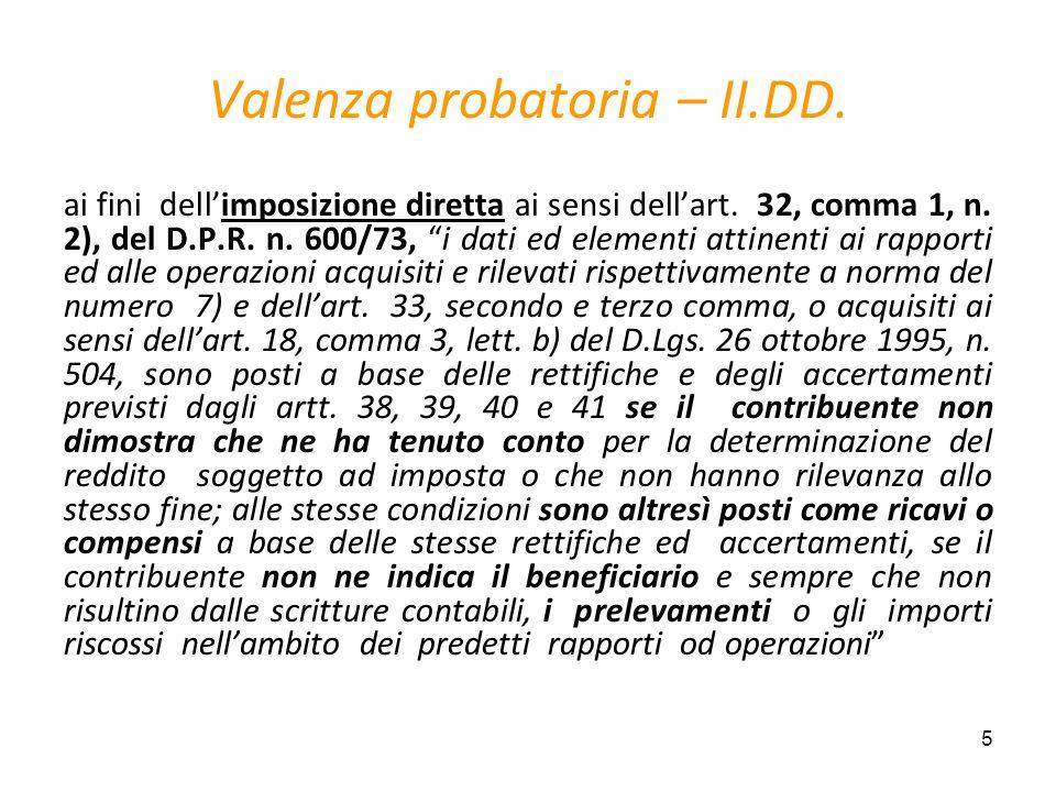 5 Valenza probatoria – II.DD. ai fini dellimposizione diretta ai sensi dellart. 32, comma 1, n. 2), del D.P.R. n. 600/73, i dati ed elementi attinenti