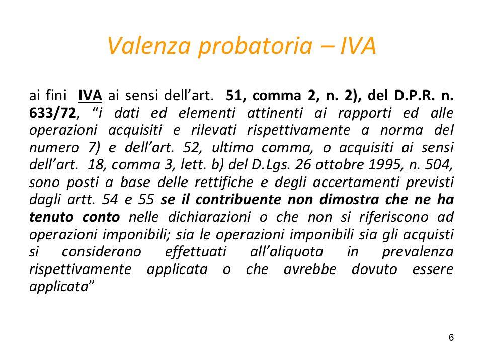 6 Valenza probatoria – IVA ai fini IVA ai sensi dellart. 51, comma 2, n. 2), del D.P.R. n. 633/72, i dati ed elementi attinenti ai rapporti ed alle op