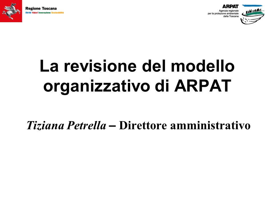La revisione del modello organizzativo di ARPAT Tiziana Petrella – Direttore amministrativo