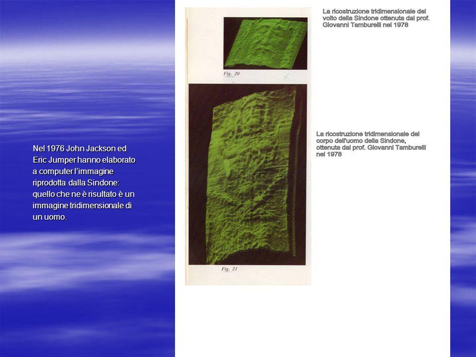 Nel 1976 John Jackson ed Eric Jumper hanno elaborato a computer limmagine riprodotta dalla Sindone: quello che ne è risultato è un immagine tridimensi