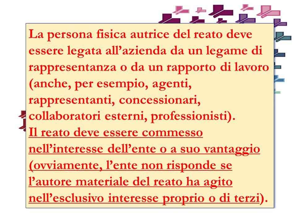 La persona fisica autrice del reato deve essere legata allazienda da un legame di rappresentanza o da un rapporto di lavoro (anche, per esempio, agenti, rappresentanti, concessionari, collaboratori esterni, professionisti).