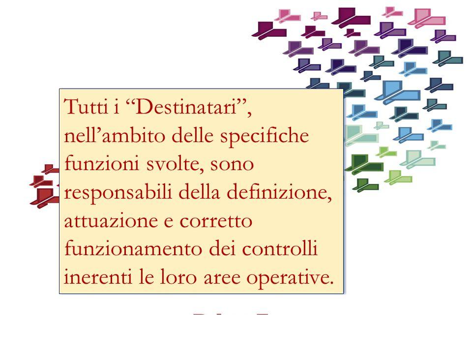 Tutti i Destinatari, nellambito delle specifiche funzioni svolte, sono responsabili della definizione, attuazione e corretto funzionamento dei controlli inerenti le loro aree operative.
