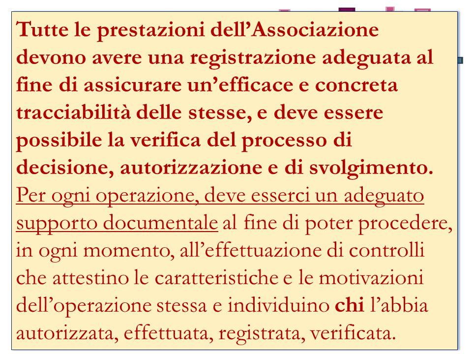 Tutte le prestazioni dellAssociazione devono avere una registrazione adeguata al fine di assicurare unefficace e concreta tracciabilità delle stesse, e deve essere possibile la verifica del processo di decisione, autorizzazione e di svolgimento.