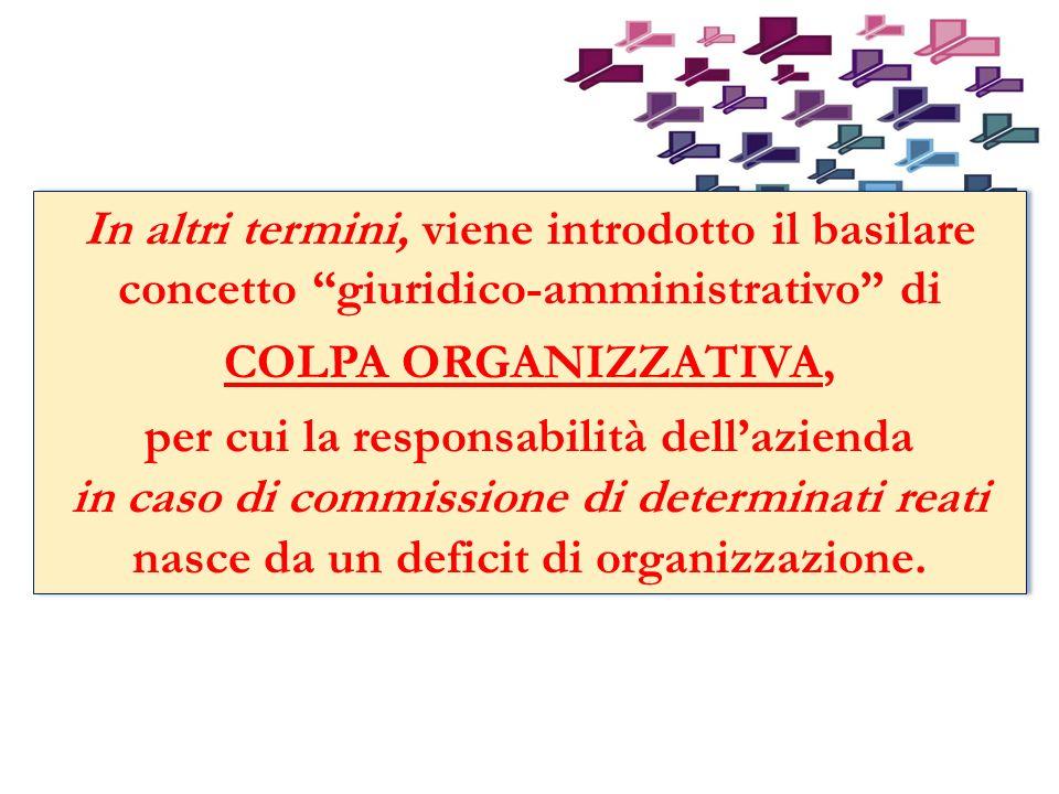 In altri termini, viene introdotto il basilare concetto giuridico-amministrativo di COLPA ORGANIZZATIVA, per cui la responsabilità dellazienda in caso di commissione di determinati reati nasce da un deficit di organizzazione.