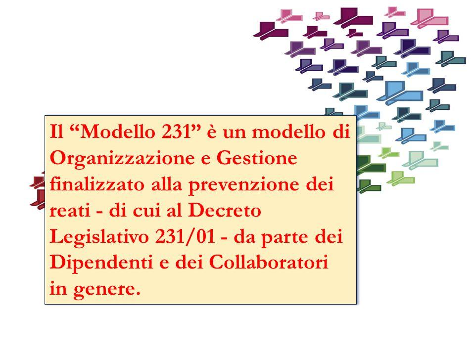 Il Modello 231 è un modello di Organizzazione e Gestione finalizzato alla prevenzione dei reati - di cui al Decreto Legislativo 231/01 - da parte dei Dipendenti e dei Collaboratori in genere.