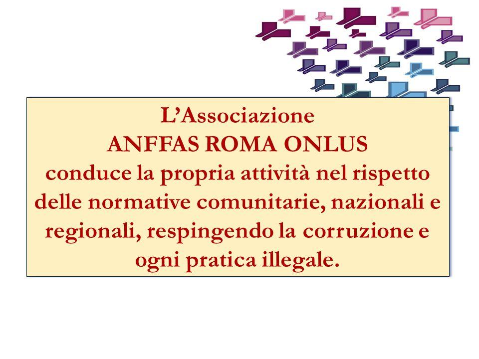 LAssociazione ANFFAS ROMA ONLUS conduce la propria attività nel rispetto delle normative comunitarie, nazionali e regionali, respingendo la corruzione e ogni pratica illegale.