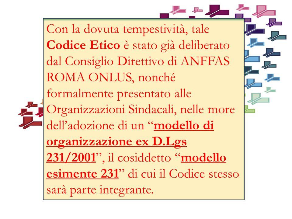 Con la dovuta tempestività, tale Codice Etico è stato già deliberato dal Consiglio Direttivo di ANFFAS ROMA ONLUS, nonché formalmente presentato alle Organizzazioni Sindacali, nelle more delladozione di un modello di organizzazione ex D.Lgs 231/2001, il cosiddetto modello esimente 231 di cui il Codice stesso sarà parte integrante.