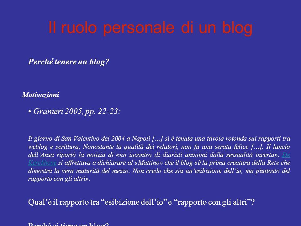 Il ruolo personale di un blog Perché tenere un blog? Motivazioni Granieri 2005, pp. 22-23: Il giorno di San Valentino del 2004 a Napoli […] si è tenut