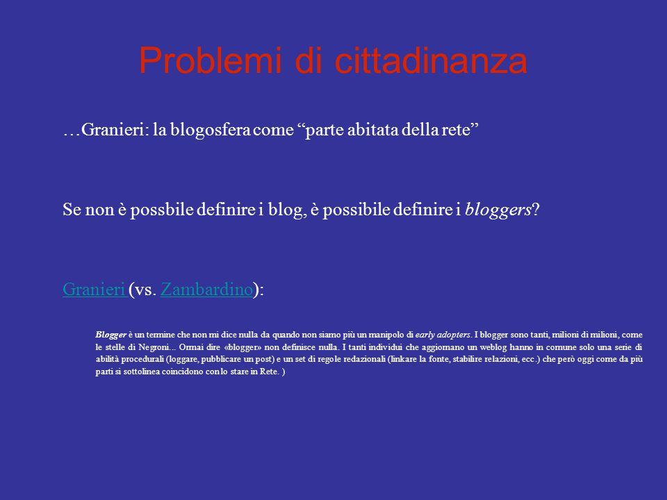 Problemi di cittadinanza …Granieri: la blogosfera come parte abitata della rete Se non è possbile definire i blog, è possibile definire i bloggers? Gr