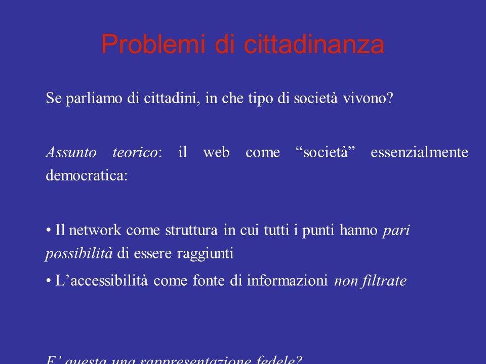 Problemi di cittadinanza Se parliamo di cittadini, in che tipo di società vivono? Assunto teorico: il web come società essenzialmente democratica: Il
