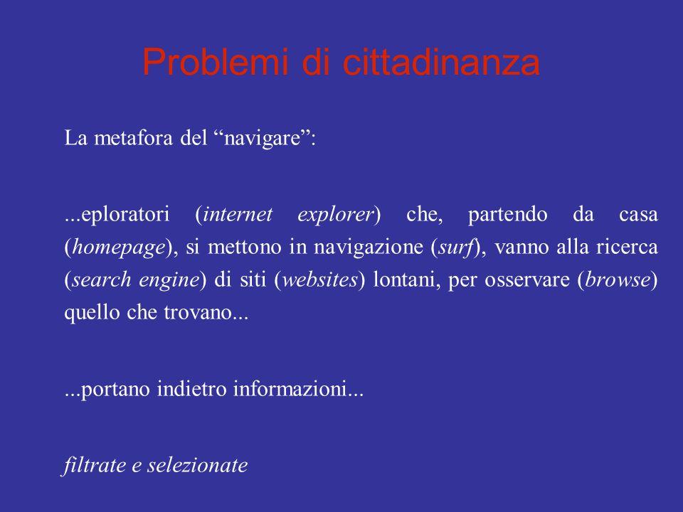 Problemi di cittadinanza La metafora del navigare:...eploratori (internet explorer) che, partendo da casa (homepage), si mettono in navigazione (surf)