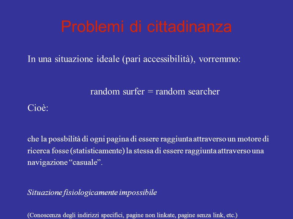 Problemi di cittadinanza In una situazione ideale (pari accessibilità), vorremmo: random surfer = random searcher Cioè: che la possbilità di ogni pagi