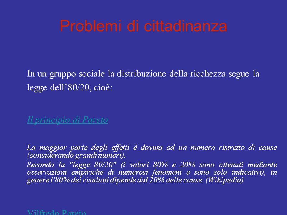 Problemi di cittadinanza In un gruppo sociale la distribuzione della ricchezza segue la legge dell80/20, cioè: Il principio di Pareto La maggior parte degli effetti è dovuta ad un numero ristretto di cause (considerando grandi numeri).