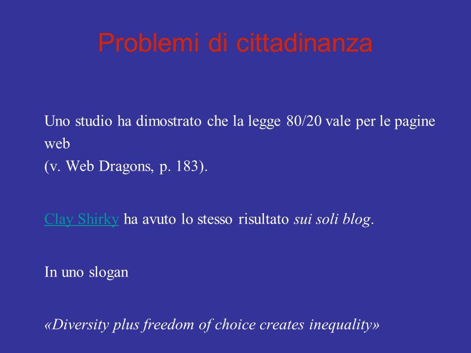 Problemi di cittadinanza Uno studio ha dimostrato che la legge 80/20 vale per le pagine web (v. Web Dragons, p. 183). Clay ShirkyClay Shirky ha avuto