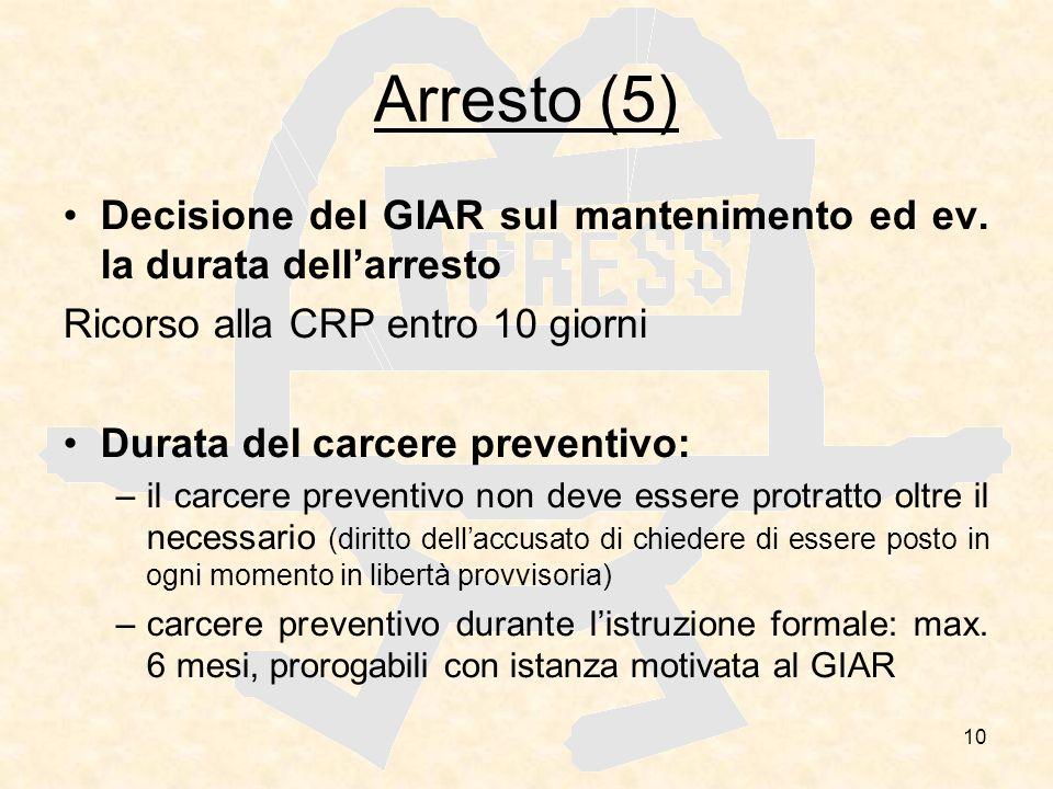 10 Arresto (5) Decisione del GIAR sul mantenimento ed ev. la durata dellarresto Ricorso alla CRP entro 10 giorni Durata del carcere preventivo: –il ca