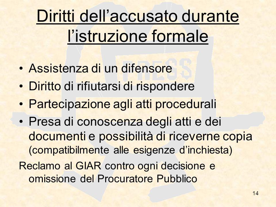 14 Diritti dellaccusato durante listruzione formale Assistenza di un difensore Diritto di rifiutarsi di rispondere Partecipazione agli atti procedural