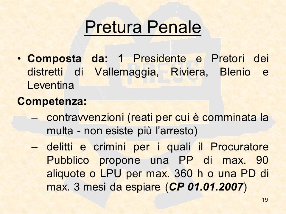 19 Pretura Penale Composta da: 1 Presidente e Pretori dei distretti di Vallemaggia, Riviera, Blenio e Leventina Competenza: –contravvenzioni (reati pe