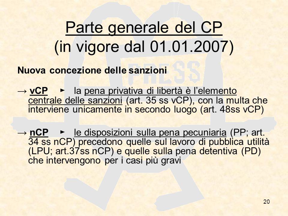 20 Parte generale del CP (in vigore dal 01.01.2007) Nuova concezione delle sanzioni vCPla pena privativa di libertà è lelemento centrale delle sanzion
