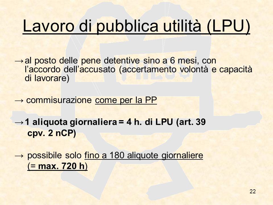 22 Lavoro di pubblica utilità (LPU) al posto delle pene detentive sino a 6 mesi, con laccordo dellaccusato (accertamento volontà e capacità di lavorar