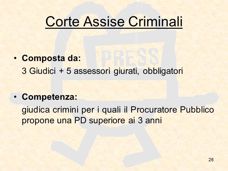 26 Corte Assise Criminali Composta da: 3 Giudici + 5 assessori giurati, obbligatori Competenza: giudica crimini per i quali il Procuratore Pubblico pr