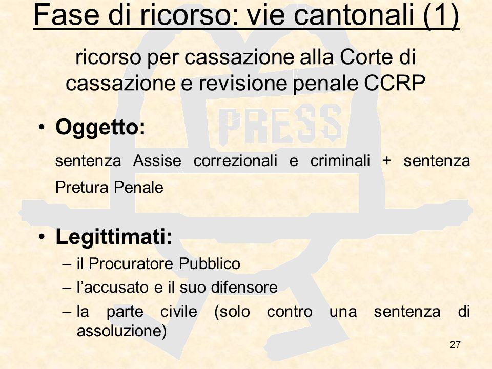 27 Fase di ricorso: vie cantonali (1) ricorso per cassazione alla Corte di cassazione e revisione penale CCRP Oggetto: sentenza Assise correzionali e