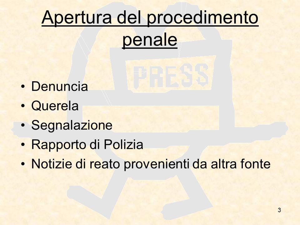 3 Apertura del procedimento penale Denuncia Querela Segnalazione Rapporto di Polizia Notizie di reato provenienti da altra fonte