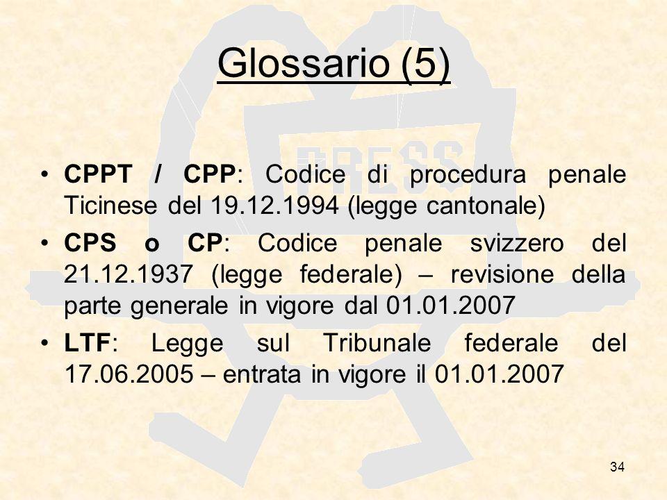 34 Glossario (5) CPPT / CPP: Codice di procedura penale Ticinese del 19.12.1994 (legge cantonale) CPS o CP: Codice penale svizzero del 21.12.1937 (leg