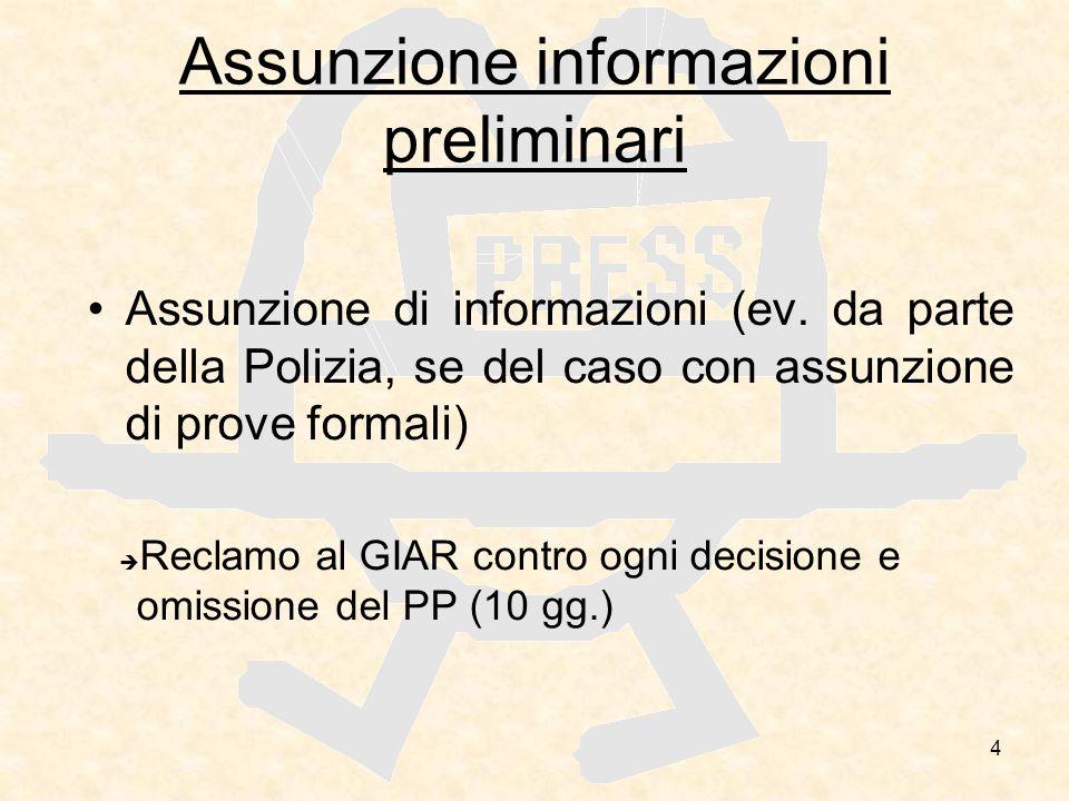 4 Assunzione informazioni preliminari Assunzione di informazioni (ev. da parte della Polizia, se del caso con assunzione di prove formali) Reclamo al