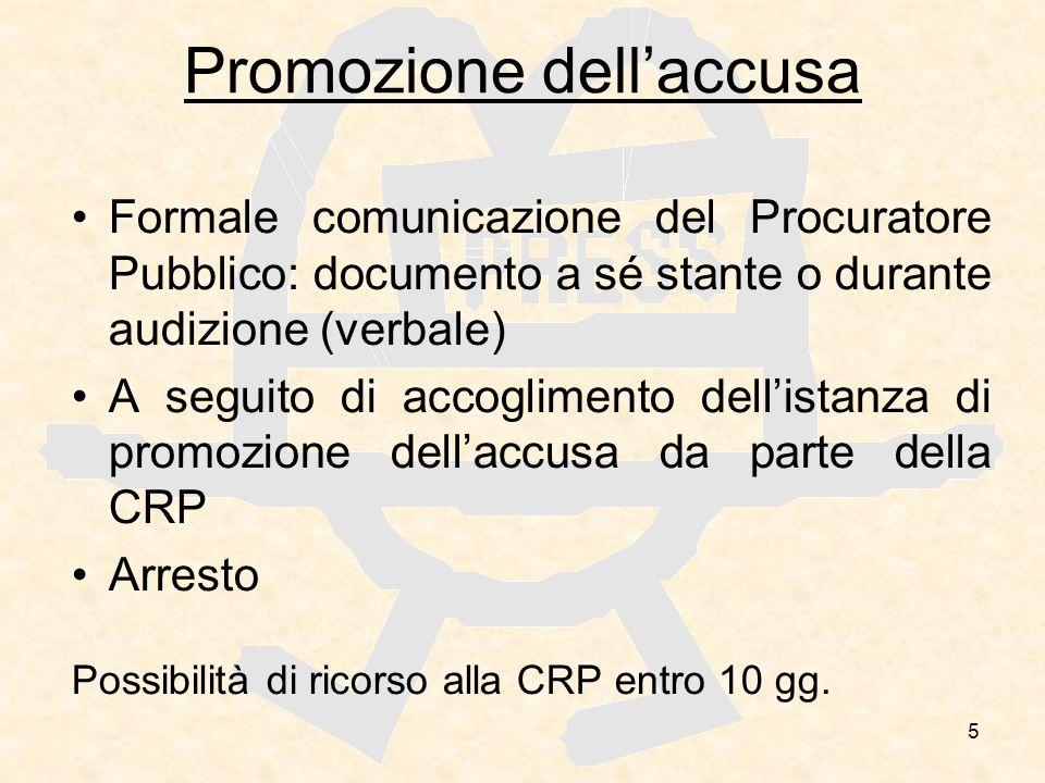 5 Promozione dellaccusa Formale comunicazione del Procuratore Pubblico: documento a sé stante o durante audizione (verbale) A seguito di accoglimento