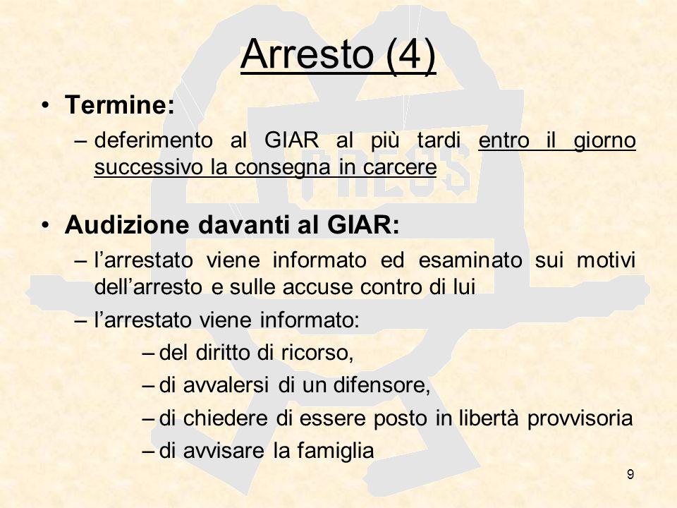 9 Arresto (4) Termine: –deferimento al GIAR al più tardi entro il giorno successivo la consegna in carcere Audizione davanti al GIAR: –larrestato vien