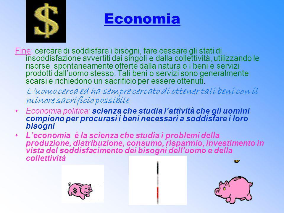 Economia Fine: cercare di soddisfare i bisogni, fare cessare gli stati di insoddisfazione avvertiti dai singoli e dalla collettività, utilizzando le r