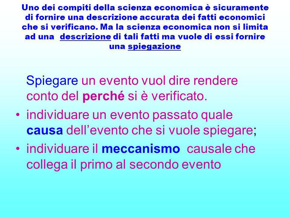 Uno dei compiti della scienza economica è sicuramente di fornire una descrizione accurata dei fatti economici che si verificano. Ma la scienza economi