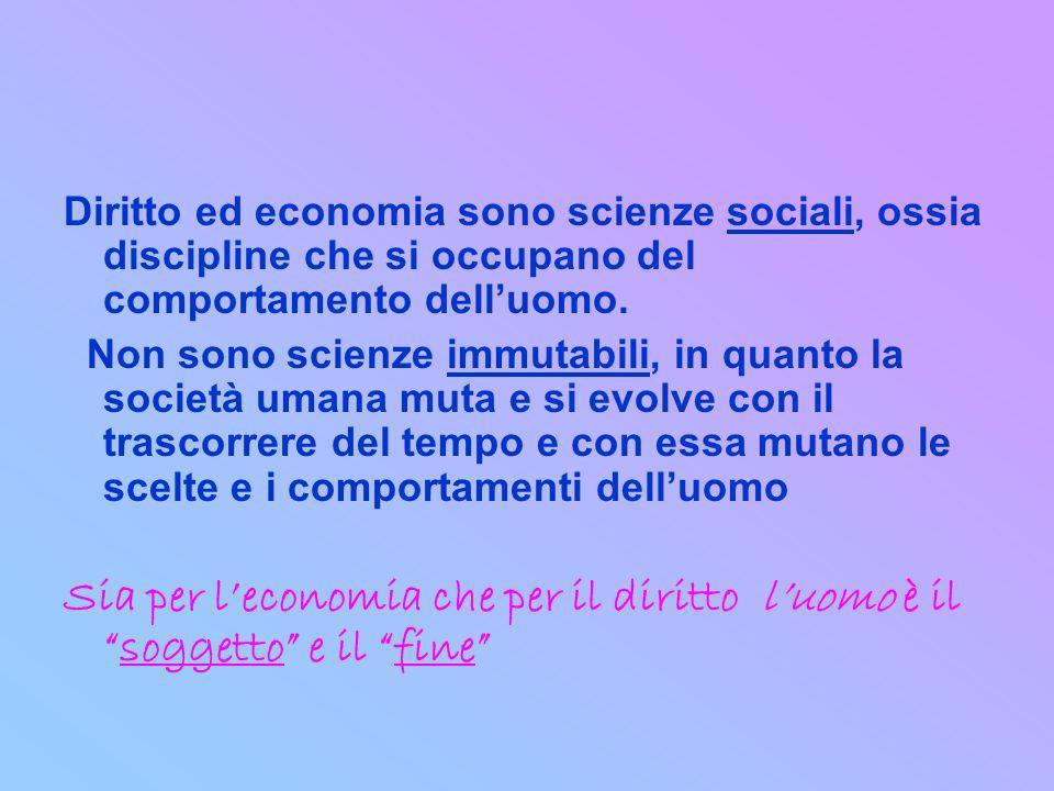 Diritto ed economia sono scienze sociali, ossia discipline che si occupano del comportamento delluomo. Non sono scienze immutabili, in quanto la socie