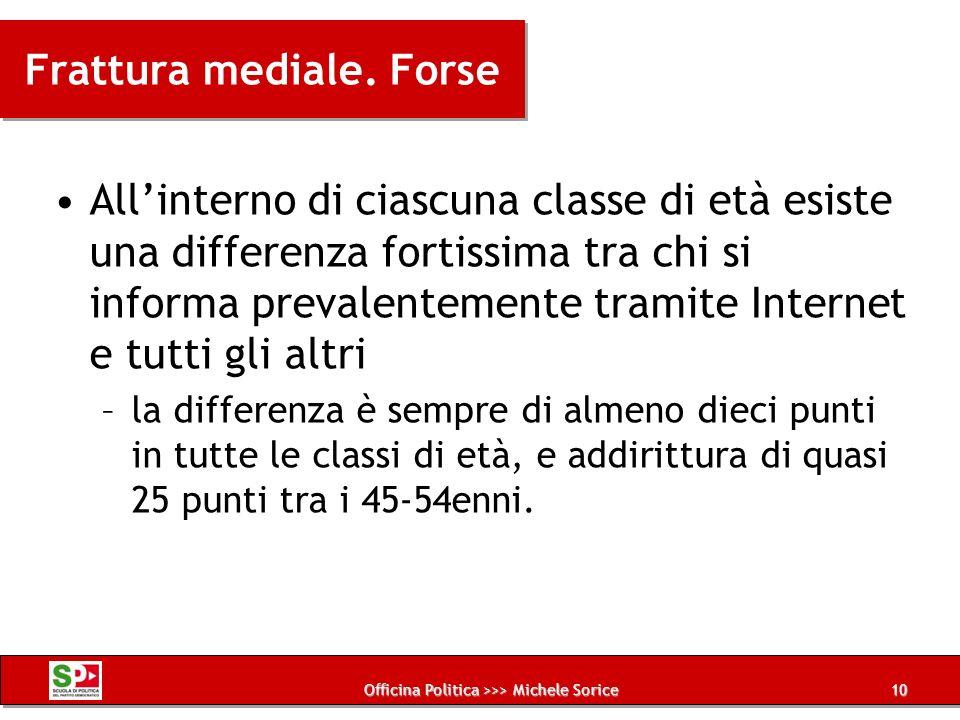 Officina Politica >>> Michele Sorice Frattura mediale. Forse Allinterno di ciascuna classe di età esiste una differenza fortissima tra chi si informa