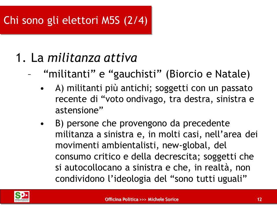 Officina Politica >>> Michele Sorice Chi sono gli elettori M5S (2/4) 1.La militanza attiva –militanti e gauchisti (Biorcio e Natale) A) militanti più