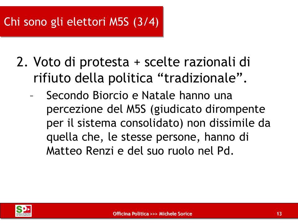 Officina Politica >>> Michele Sorice Chi sono gli elettori M5S (3/4) 2.Voto di protesta + scelte razionali di rifiuto della politica tradizionale. –Se