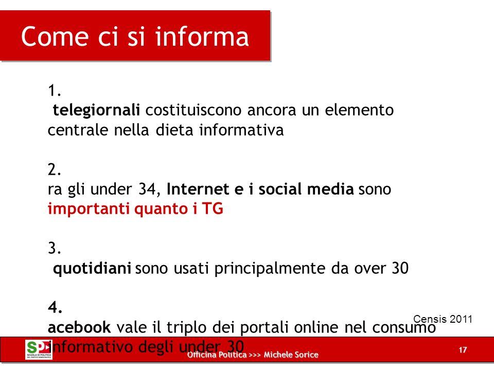 Officina Politica >>> Michele Sorice La dieta mediatica degli italiani 1.I telegiornali costituiscono ancora un elemento centrale nella dieta informat