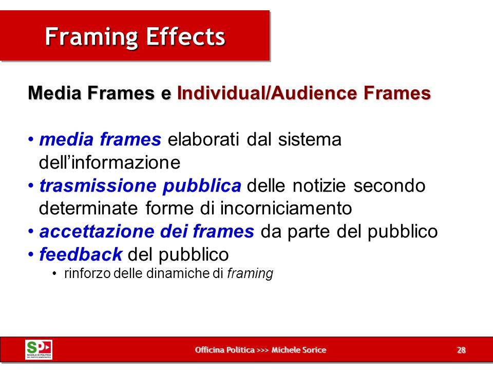 Officina Politica >>> Michele Sorice Framing Effects 28 Media Frames e Individual/Audience Frames media frames elaborati dal sistema dellinformazione