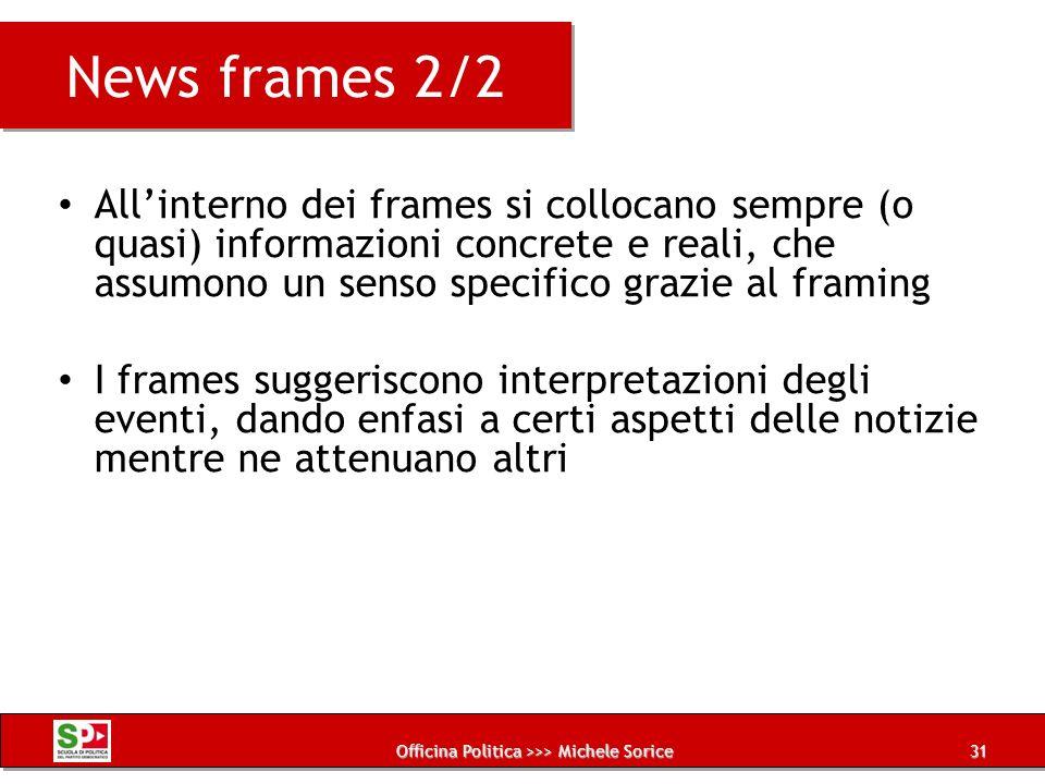 Officina Politica >>> Michele Sorice News frames 2/2 Allinterno dei frames si collocano sempre (o quasi) informazioni concrete e reali, che assumono u
