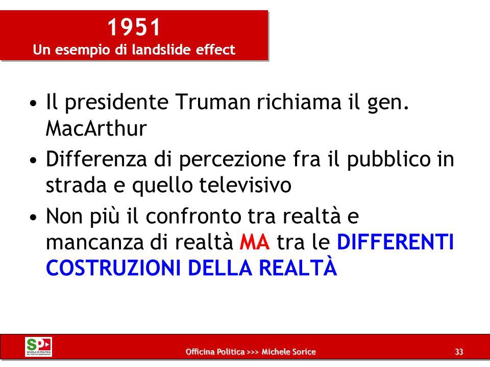 Officina Politica >>> Michele Sorice 1951 Un esempio di landslide effect Il presidente Truman richiama il gen. MacArthur Differenza di percezione fra