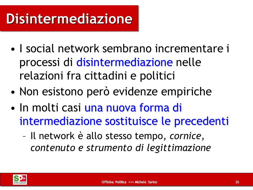 Officina Politica >>> Michele Sorice DisintermediazioneDisintermediazione disintermediazioneI social network sembrano incrementare i processi di disin