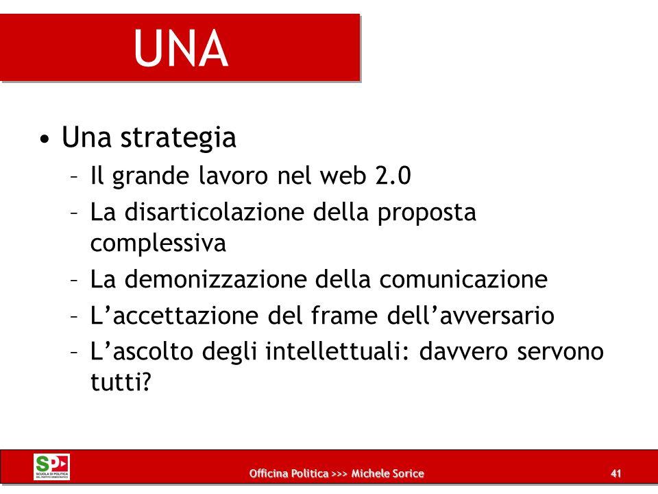 Officina Politica >>> Michele Sorice UNA Una strategia –Il grande lavoro nel web 2.0 –La disarticolazione della proposta complessiva –La demonizzazion