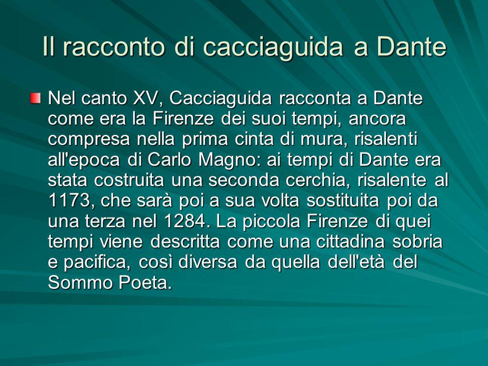 Il racconto di cacciaguida a Dante Nel canto XV, Cacciaguida racconta a Dante come era la Firenze dei suoi tempi, ancora compresa nella prima cinta di