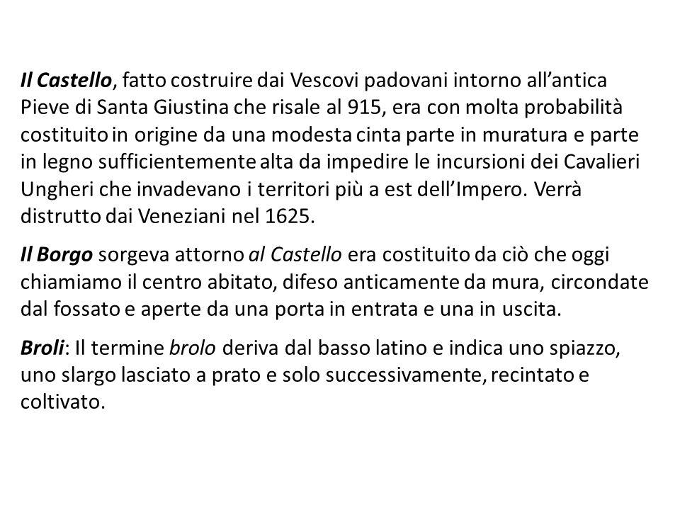 Il Castello, fatto costruire dai Vescovi padovani intorno allantica Pieve di Santa Giustina che risale al 915, era con molta probabilità costituito in