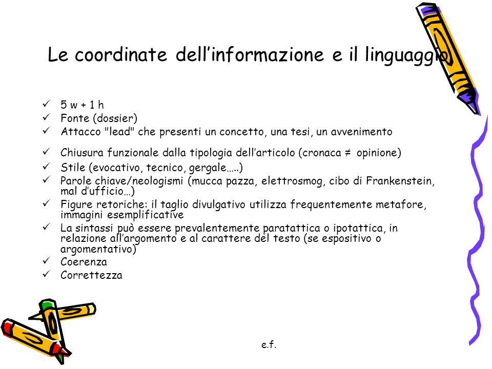 e.f. Le coordinate dellinformazione e il linguaggio 5 w + 1 h Fonte (dossier) Attacco