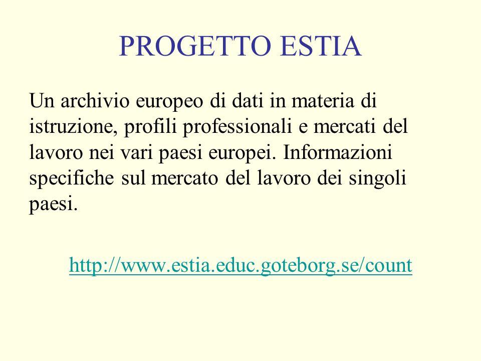 PROGETTO ESTIA Un archivio europeo di dati in materia di istruzione, profili professionali e mercati del lavoro nei vari paesi europei.