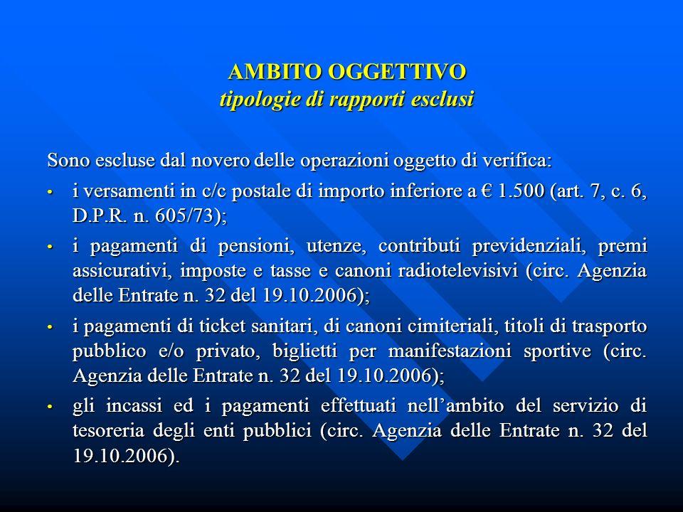AMBITO OGGETTIVO tipologie di rapporti esclusi Sono escluse dal novero delle operazioni oggetto di verifica: i versamenti in c/c postale di importo inferiore a 1.500 (art.