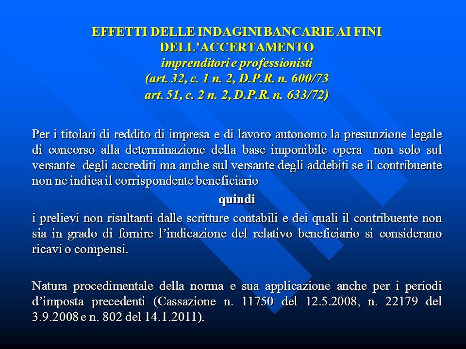 EFFETTI DELLE INDAGINI BANCARIE AI FINI DELLACCERTAMENTO imprenditori e professionisti (art.